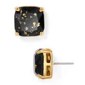 Kate Spade Black and Gold Glitter Square Studs